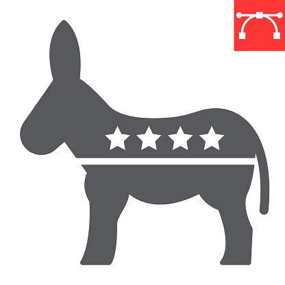 Democratic donkey glyph icon, election and democrat, donkey sign vector graphics, editable stroke solid icon, eps 10.