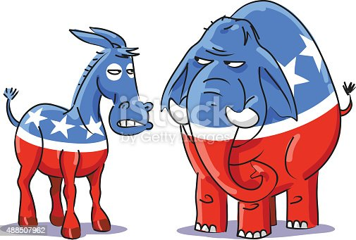 Vector illustration of an angry Democratic donkey and Republican elephant looking at each other. Political caricature on white background.
