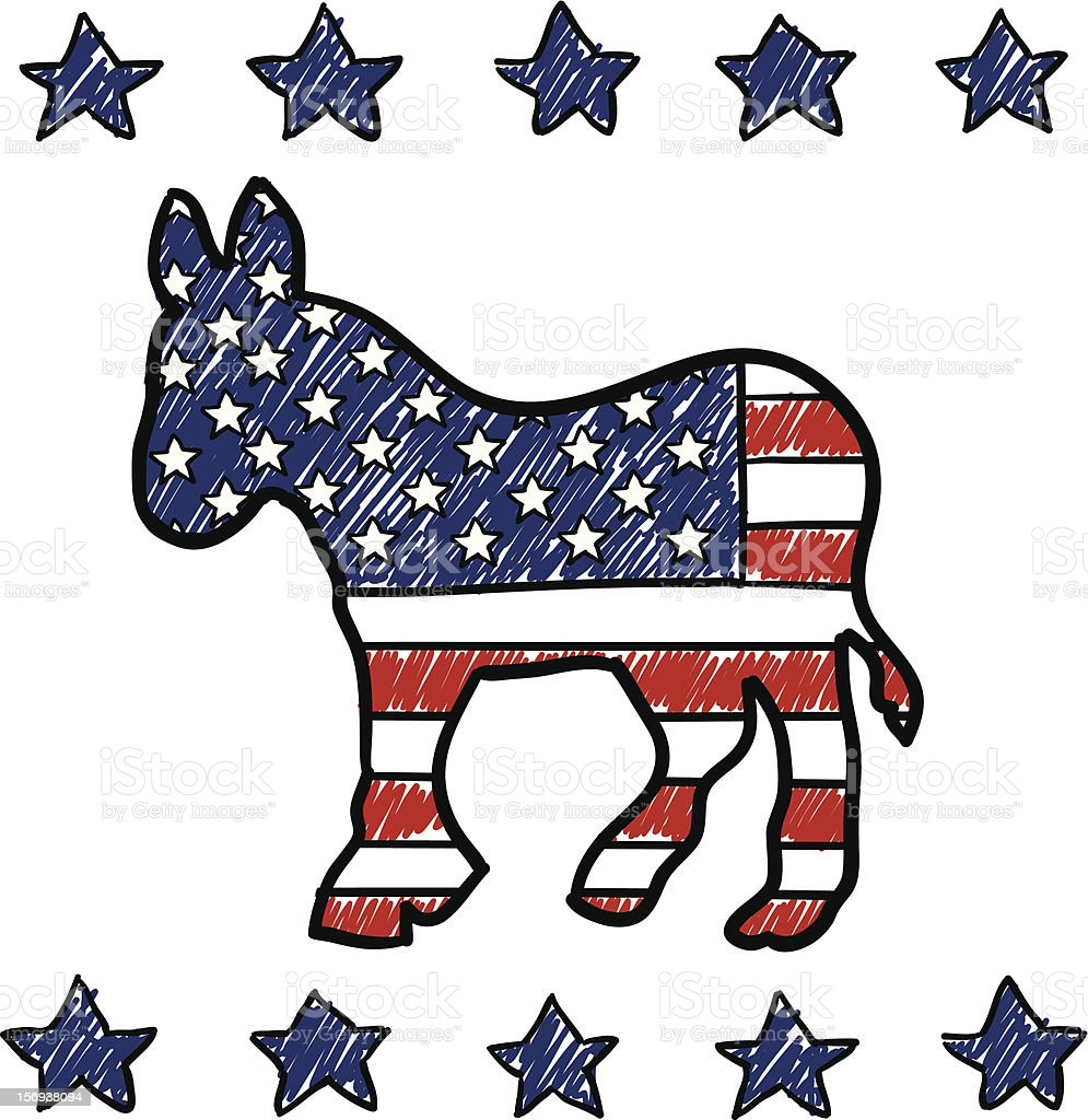 Democratic Party Donkey sketch royalty-free stock vector art