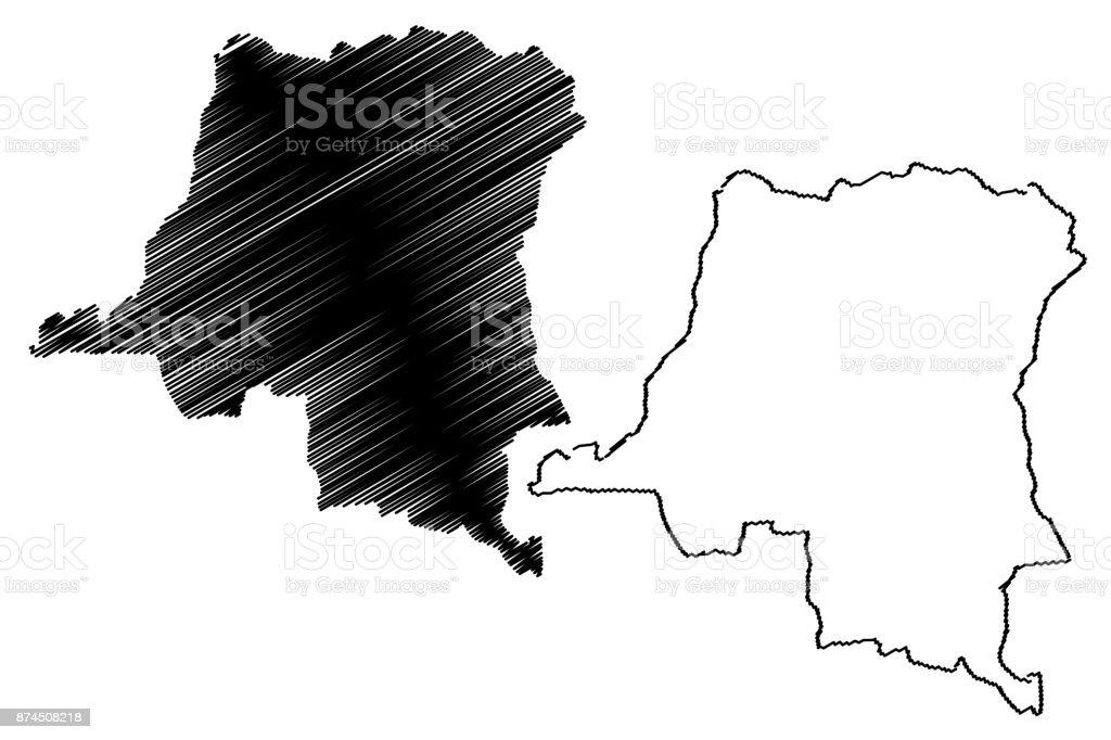 Democratic Republic Of Congo Map Vector Stock Vector Art 874508218