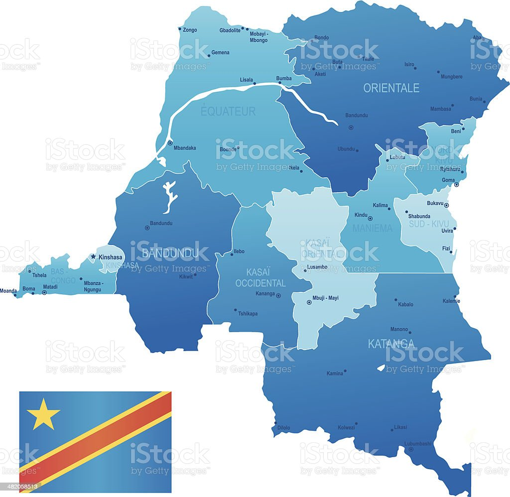 Democratic Republic of Congo - states, cities, flag and icons royalty-free democratic republic of congo states cities flag and icons stock vector art & more images of africa