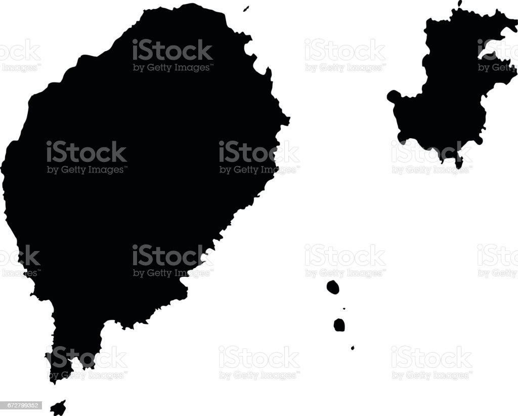 Democratic Republic Of Sao Tome And Principe Black Map On White - Sao tome and principe map