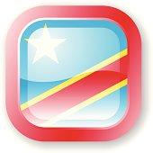 Democratic Republic of the Congo flag icon in a slick style.