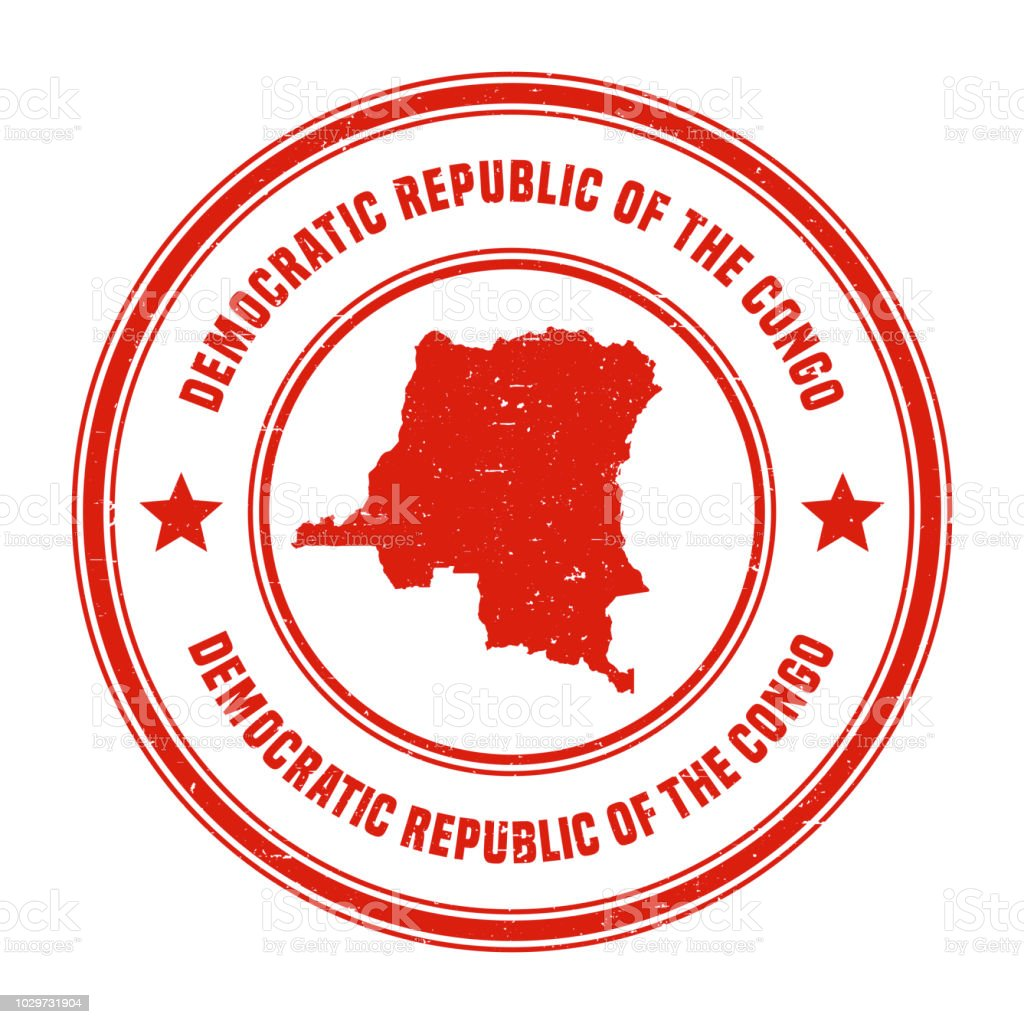 Democratic Republic Of The Congo Red Grunge Rubber Stamp Map