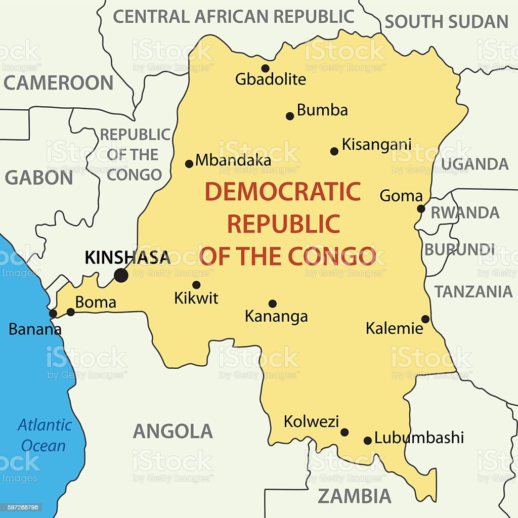 Congo Kinshasa Map Africa.Democratic Republic Of The Congo Vector Map Stock