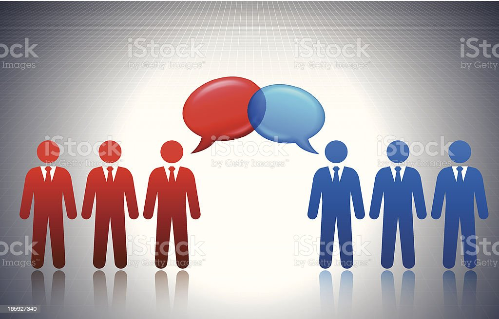 Democrats and Republicans Debate Concept Stick Figures royalty-free stock vector art