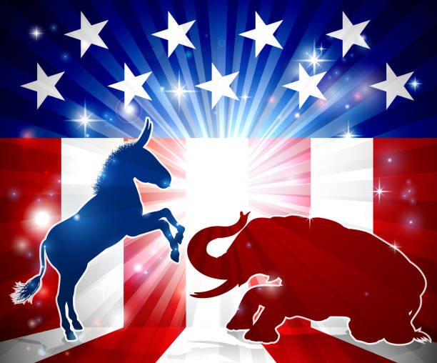 democrats vs republicans - presidential debate stock illustrations