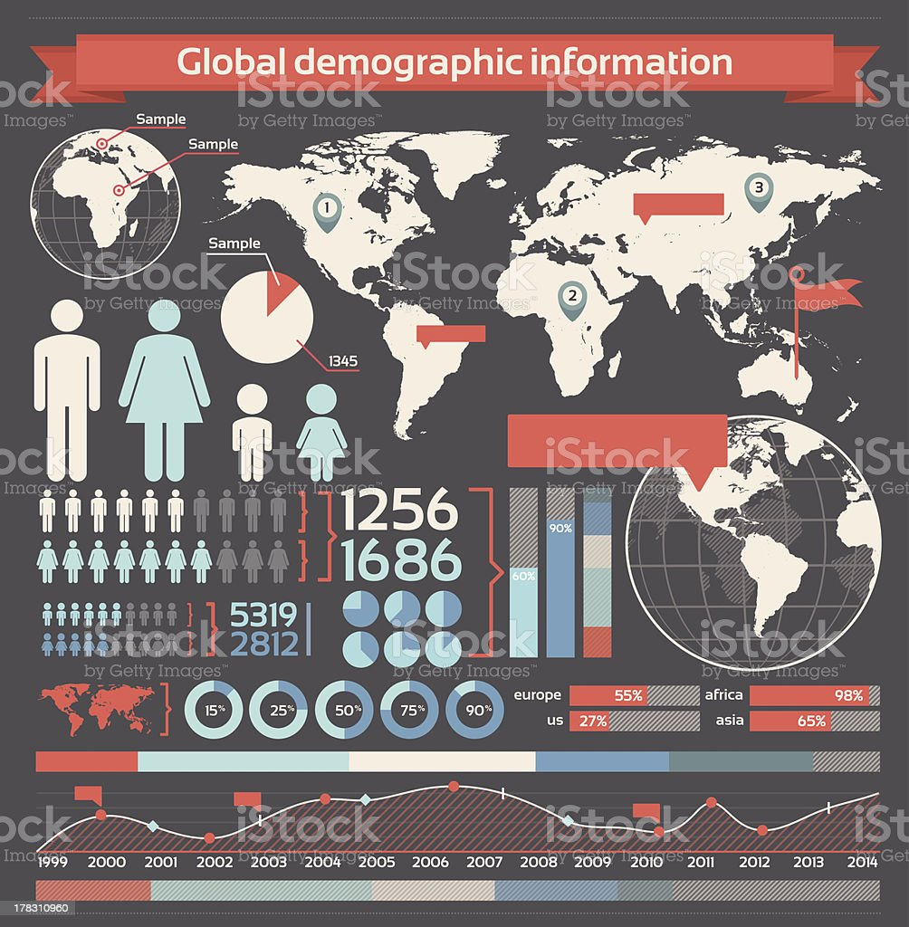 Demographic infographic elements vector art illustration