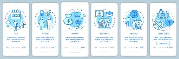 ilustraciones, imágenes clip art, dibujos animados e iconos de stock de plantilla de vector de pantalla de página de incorporación de degradado azul demográfico. pasos del sitio web de las características sociales con ilustraciones lineales. concepto de interfaz de smartphone ux, ui, gui - infografías demográficas