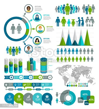 Vector illustration of the demographic infographic elements