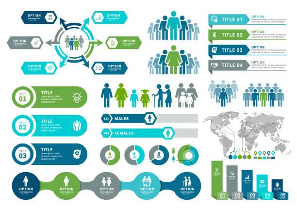 illustrations, cliparts, dessins animés et icônes de éléments d'infographie démographiques - infographie visualisation de données