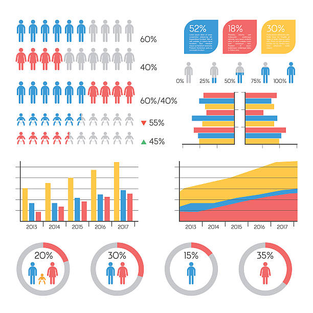demographics infographic elements - demographics infographics stock illustrations, clip art, cartoons, & icons