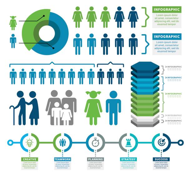 demographics infographic elements - infographics stock illustrations, clip art, cartoons, & icons