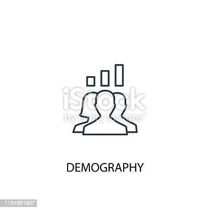 istock demography concept line icon. Simple element illustration. demography  concept outline symbol design. Can be used for web and mobile UI/UX 1154951607