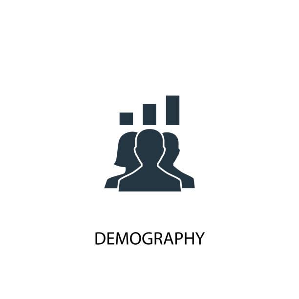 ilustraciones, imágenes clip art, dibujos animados e iconos de stock de icono de demografía. ilustración de elemento simple. diseño del símbolo del concepto de demografía. puede ser utilizado para la web y móvil. - infografías demográficas