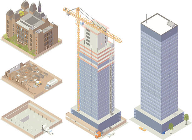 Demolition and Construction Illustration Isometric illustration of buildings undergoing demolition and construction. Includes an abandoned building, a structure being torn down, a lot with cement mixer pouring a foundation, a skyscraper under construction with tower crane, and a completed office building. demolished stock illustrations