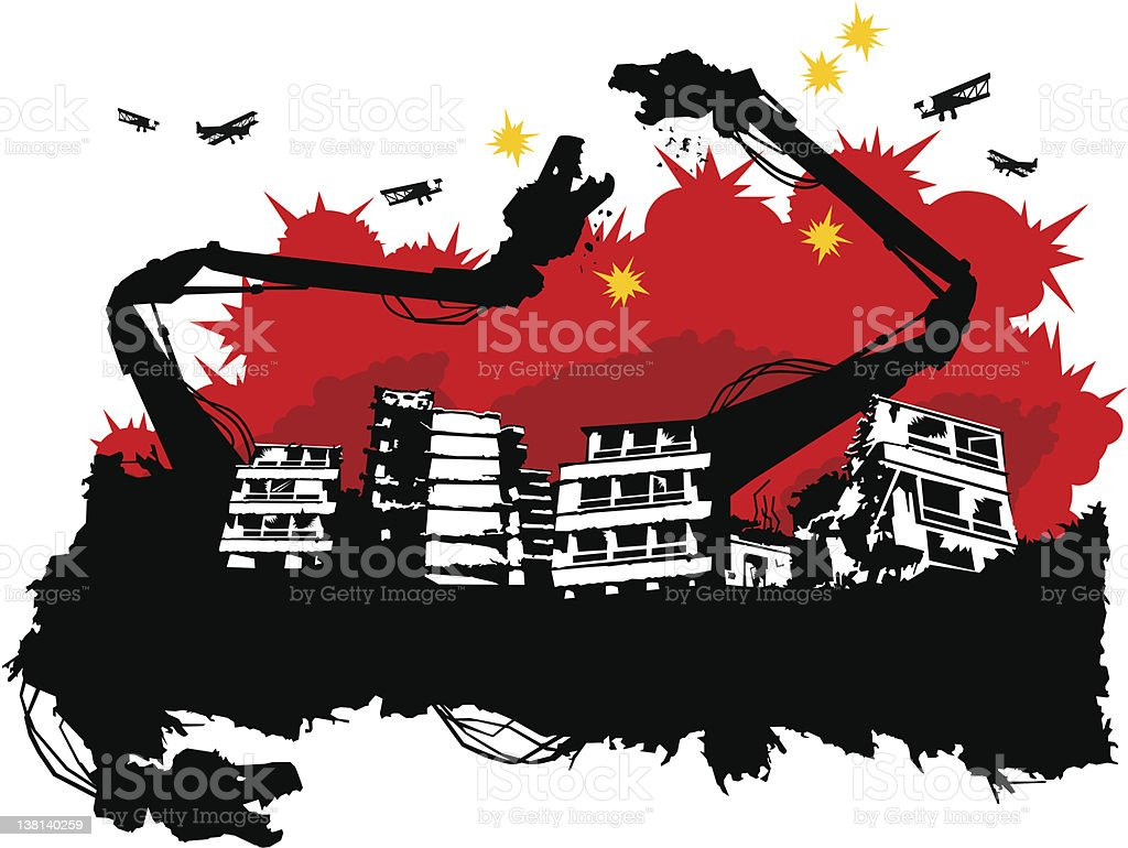 demolition machines fight over a ruined city vector art illustration