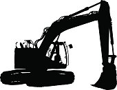 Vector silhouette of a demolition tractor.