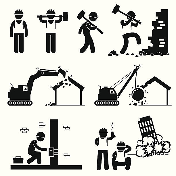 Demolition Worker Demolish Building Pictogram Icon Cliparts A set of human pictogram representing demolition worker smashing wall with hammer, destroying house with excavator and wrecking ball, and demolishing building with explosive bomb. demolished stock illustrations