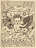 Demon child. Mystic concept for Lenormand oracle tarot card.
