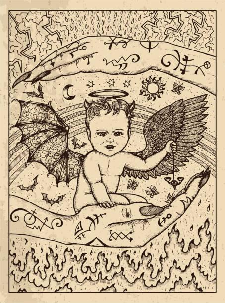 Demon child. Mystic concept for Lenormand oracle tarot card. vector art illustration