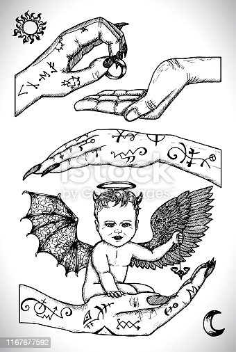 Demon child sitting in hands. Vector line art engraved illustration in gothic style. No foreign language, all symbols are fantasy. Occult, esoteric, Halloween and mystic concept.