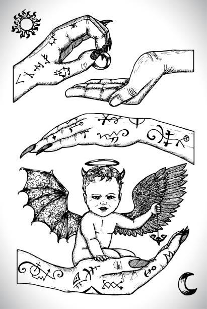 Demon child sitting in hands. Vector line art engraved illustration in gothic style. vector art illustration