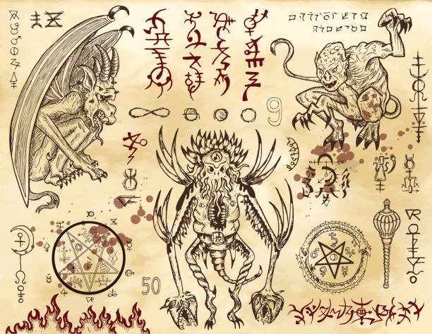 illustrazioni stock, clip art, cartoni animati e icone di tendenza di demon collection with mystic and occult symbols - gargoyle