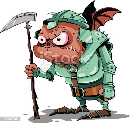 Vector Illustration Funny demon with wings in armour