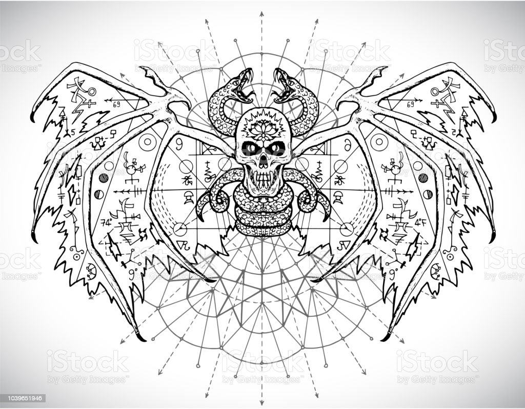 Demon With Mystic Sacred Geometry Symbols Against Pattern Circle