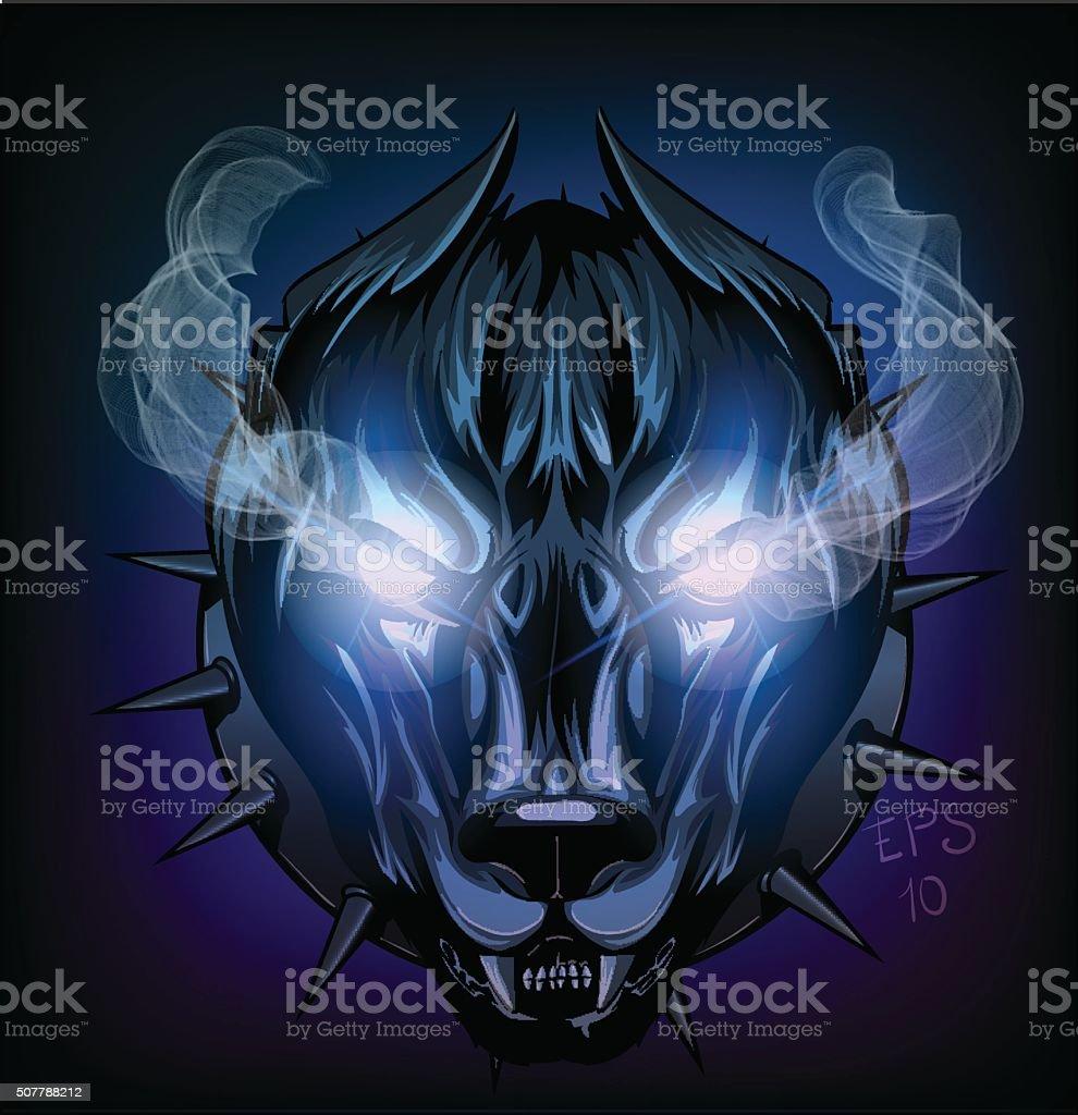 demonic dog vector art illustration