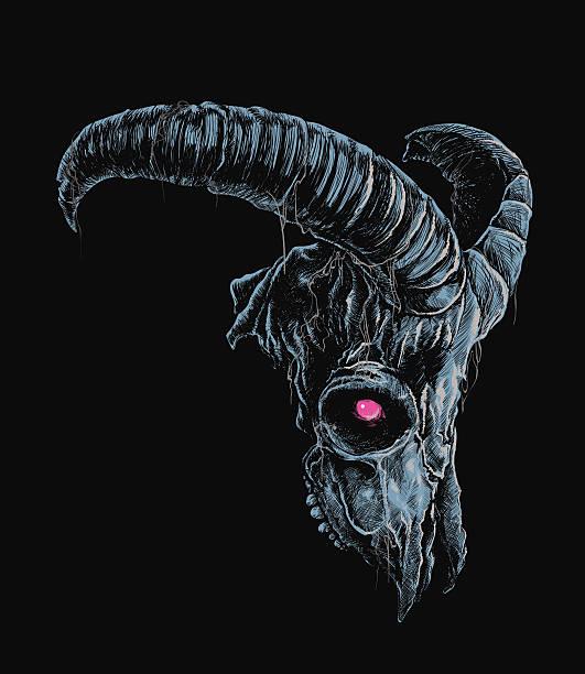 demonic goat skull - animal skeleton stock illustrations