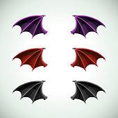Demons wings set. Halloween decor, vector icons