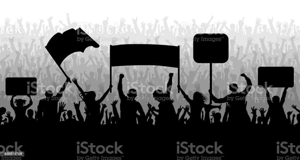 Demonstration, manifestation, protest, strike, revolution. Crowd of people with flags, banners. Sports, mob, fans. Silhouette background vector - ilustração de arte vetorial