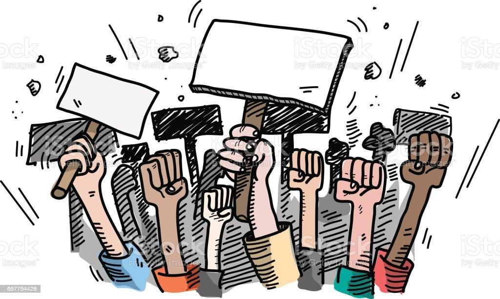 Demonstration. Mass Protest vector art illustration