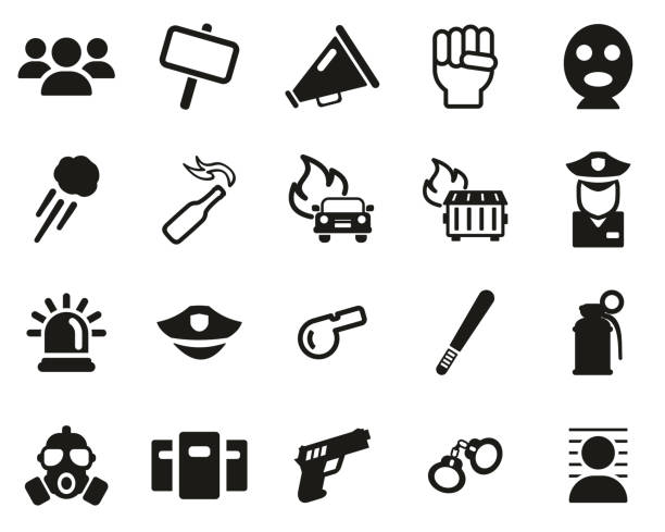 Demonstration Or Protest Icons Black & White Set Big Demonstration Or Protest Icons Black & White Set Big dumpster fire stock illustrations