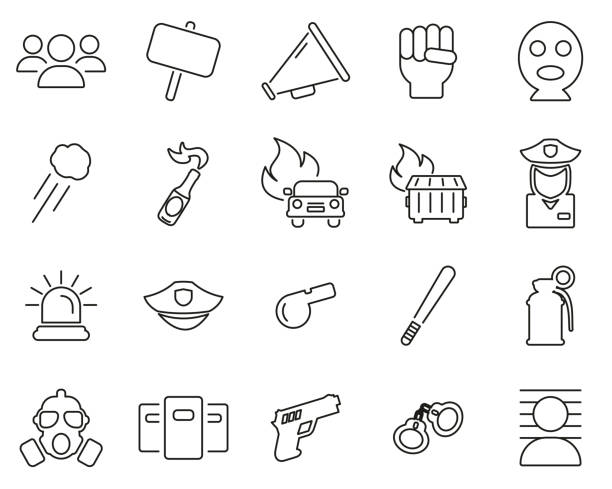 Demonstration Or Protest Icons Black & White Thin Line Set Big Demonstration Or Protest Icons Black & White Set Big dumpster fire stock illustrations