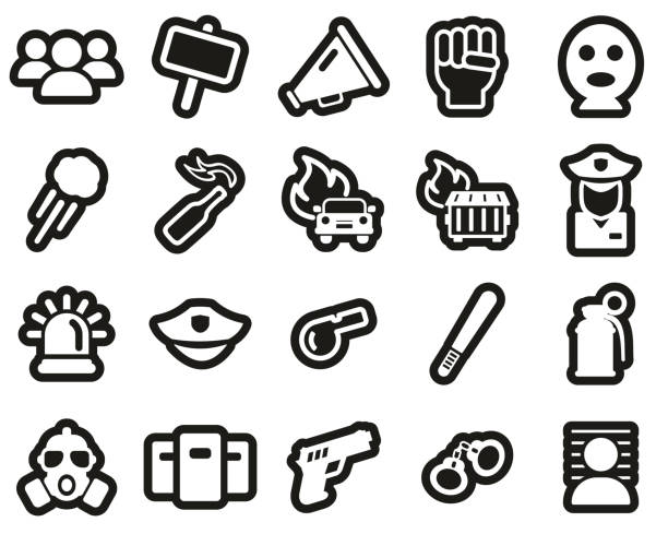 Demonstration Or Protest Icons White On Black Sticker Set Big Demonstration Or Protest Icons Black & White Set Big dumpster fire stock illustrations