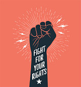 Demonstration, revolution, protest raised arm fist with Fight for Your Rights caption. Black arm silhouette on red background. Vector eps 10  illustration.