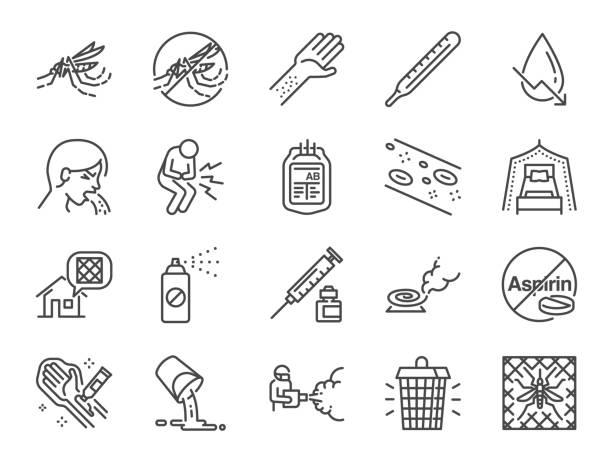 dengue-fieber-linie-icon-set. enthalten die symbole als dengue-virus, moskito killer, insektenschutz, prävention, moskitonetz und vieles mehr. - mückenfalle stock-grafiken, -clipart, -cartoons und -symbole