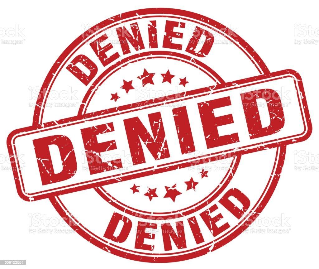 Denied >> Denied Red Grunge Round Vintage Rubber Stamp Stock