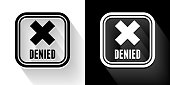 Denied Sign Black and White Icon with Long Shadow. This 100% royalty free vector illustration is featuring the square button and the main icon is depicted in black and in white with a black icon on it. It also has a long shadow to give the icons more depth.