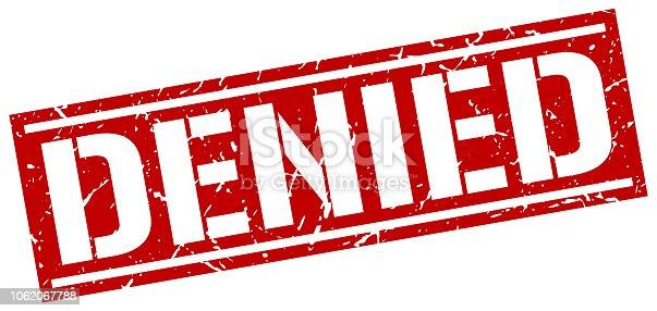 denied square grunge stamp