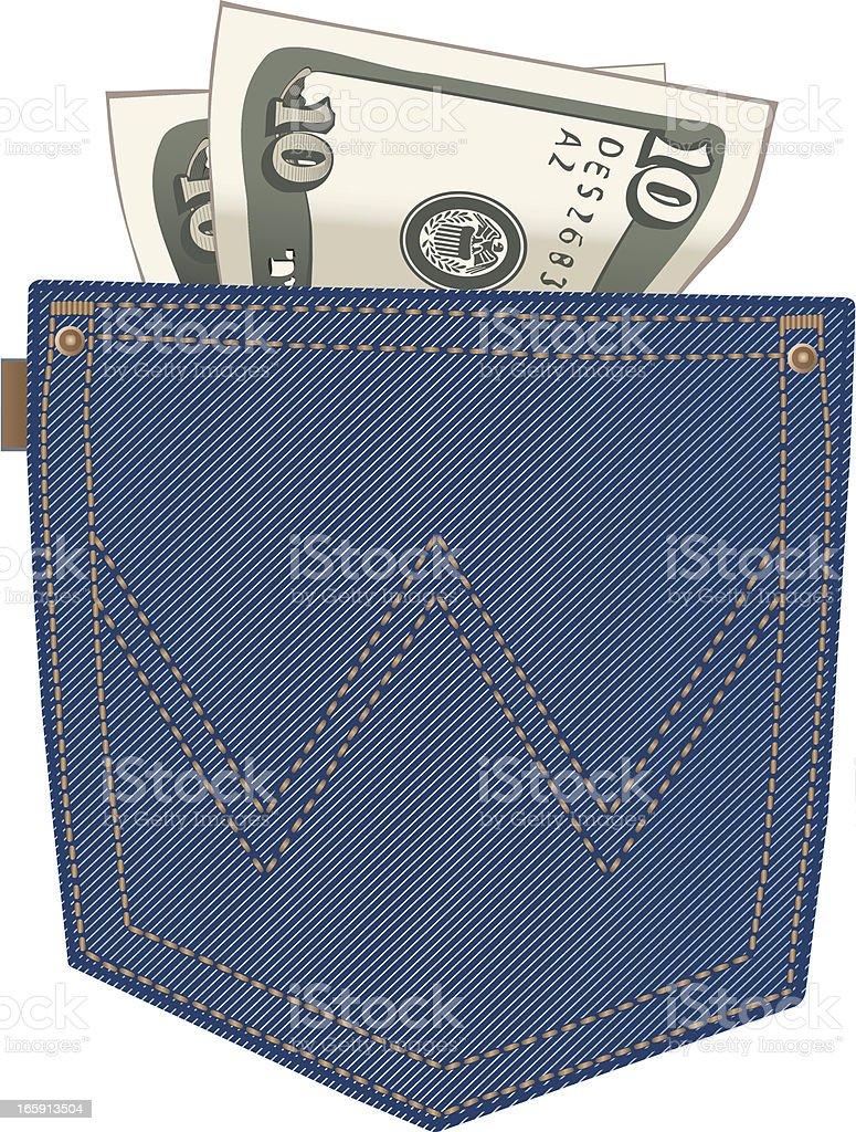 Denim Back Pocket with Money vector art illustration