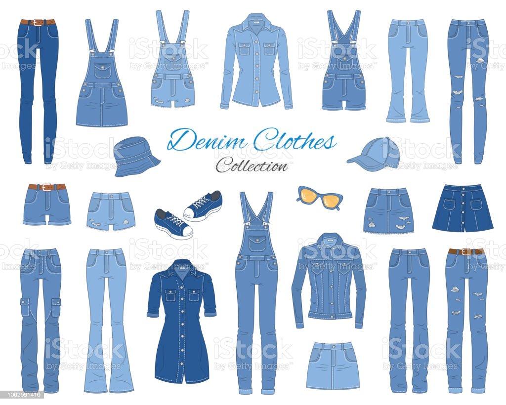 デニムの服のコレクション。ベクター スケッチ イラスト。 ベクターアートイラスト