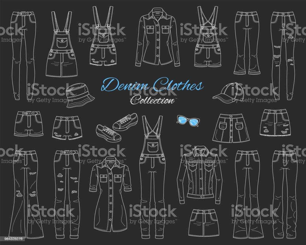 Denim clothes collection. Vector sketch illustration vector art illustration