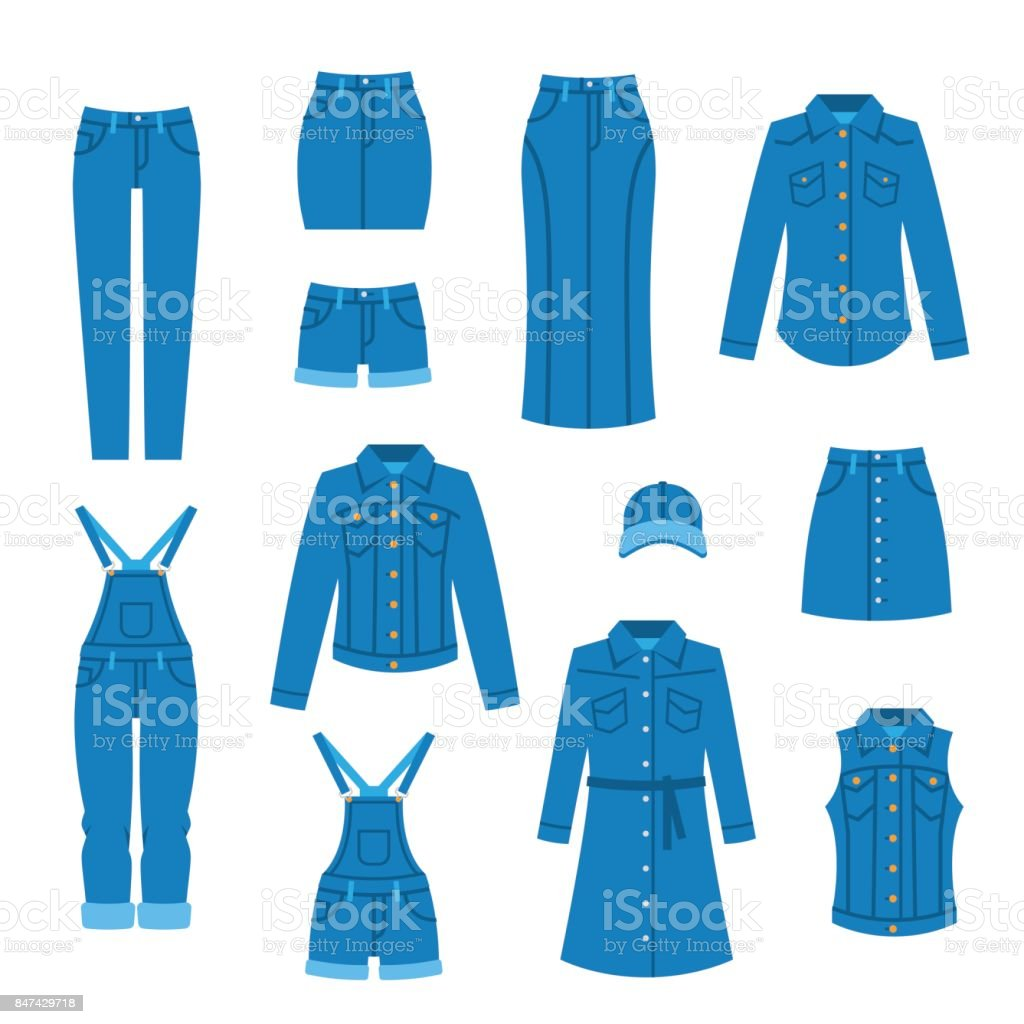 Denim clothes flat icons vector art illustration