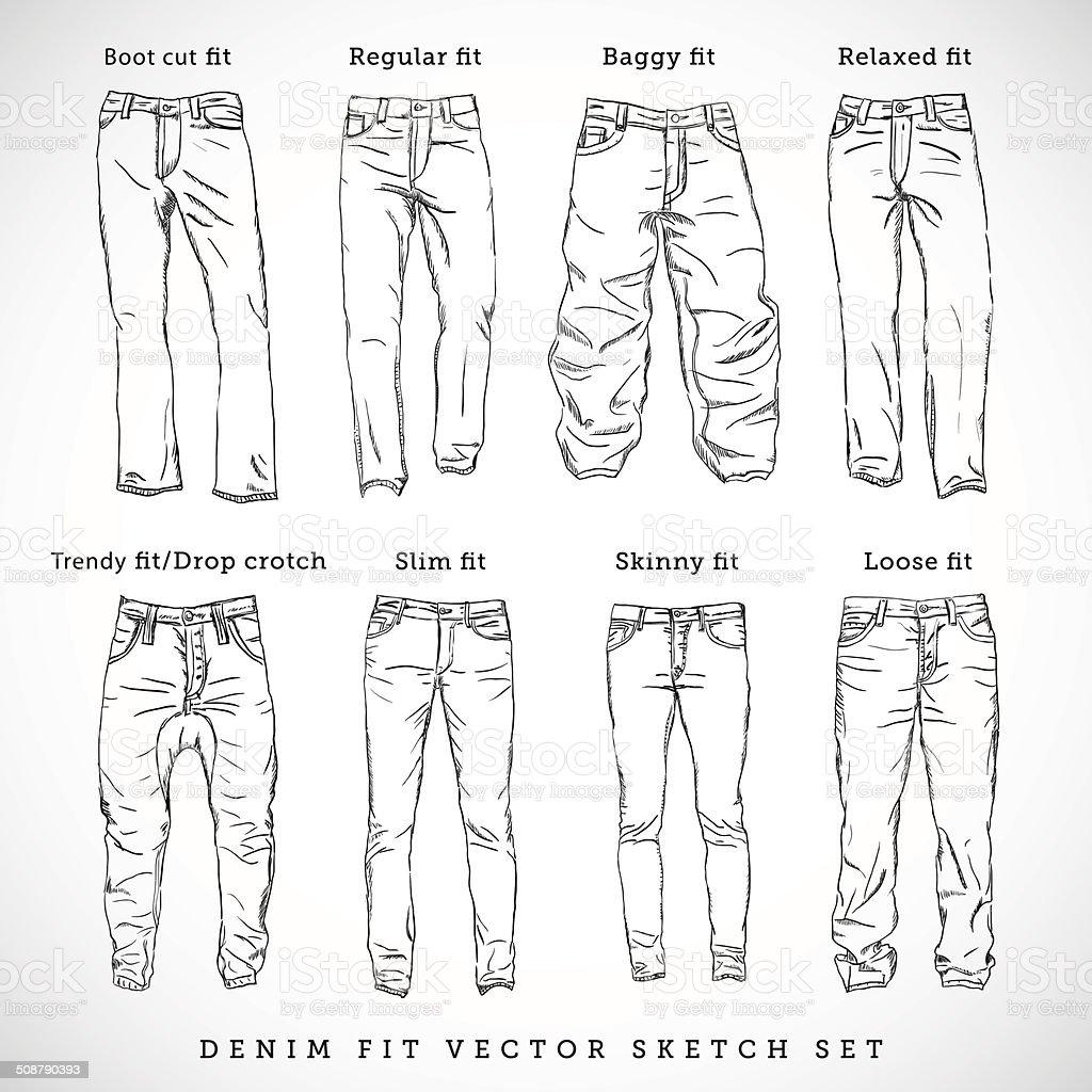 Denim Fit Hand Drawn Vector Sketch Set vector art illustration