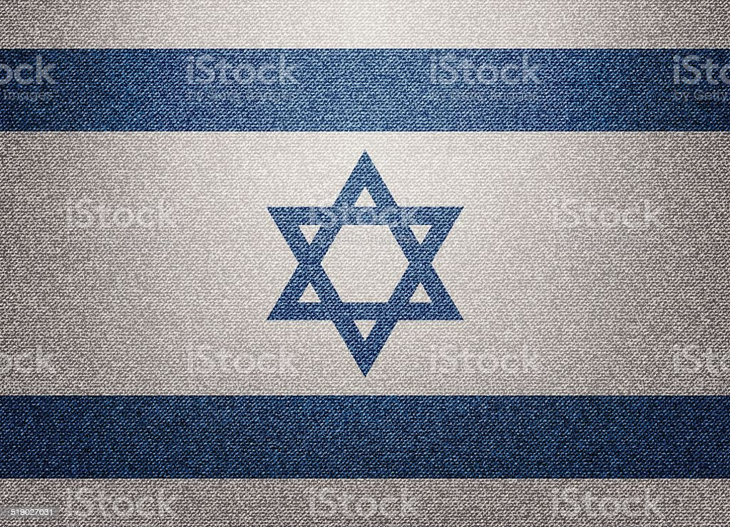 Denim Israel flag vector art illustration