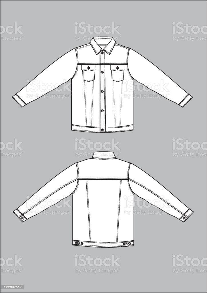 Denim Jacket Stock Vector Art More Images Of Appearance 932802662
